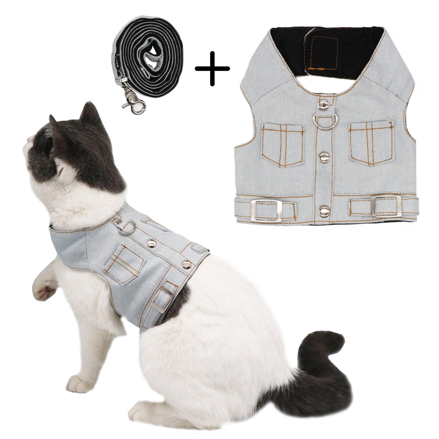 Ruri's Cat Jeans Jacket Harness Vest with Matching Lead Leash Set (L)