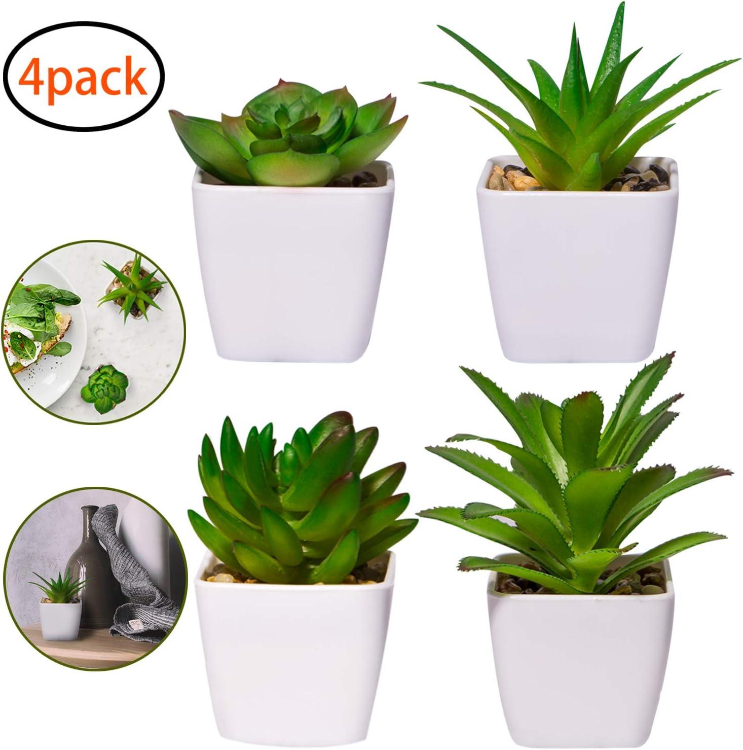 YHmall 4pcs Plantas Artificiales Decoracion Exterior de Suculentas con Macetas Plásticas de Interior y Exterior para Cocina, Jardín, Patio