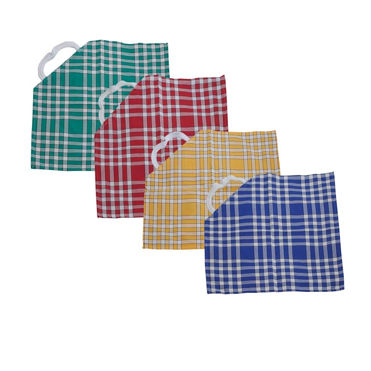 Bricout - Linge - Lot De 4 Serviettes De Table Carreaux Normands - 100% Coton - 210 Gr/M2 - Dimensions - 50X50 Cm - Avec Collerette Élastique Label Oeko - Tex BRICOUT-LINGE
