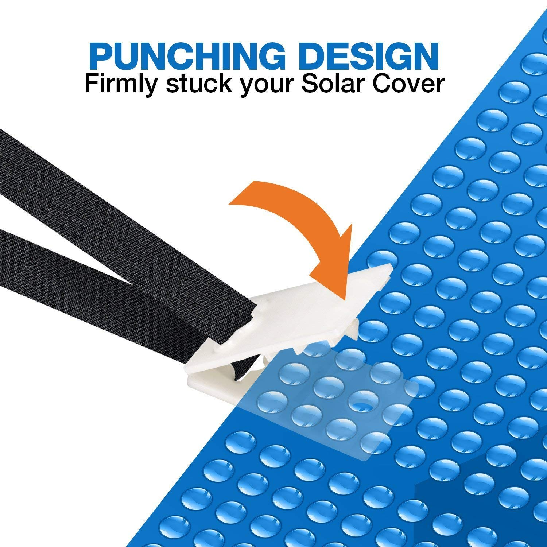 24 Pcs Pool Solar Cover Reel Straps Solar Blanket Straps Kit for In-ground Swimming Pool muscccm Pool Solar Cover Reel Attachment Kit