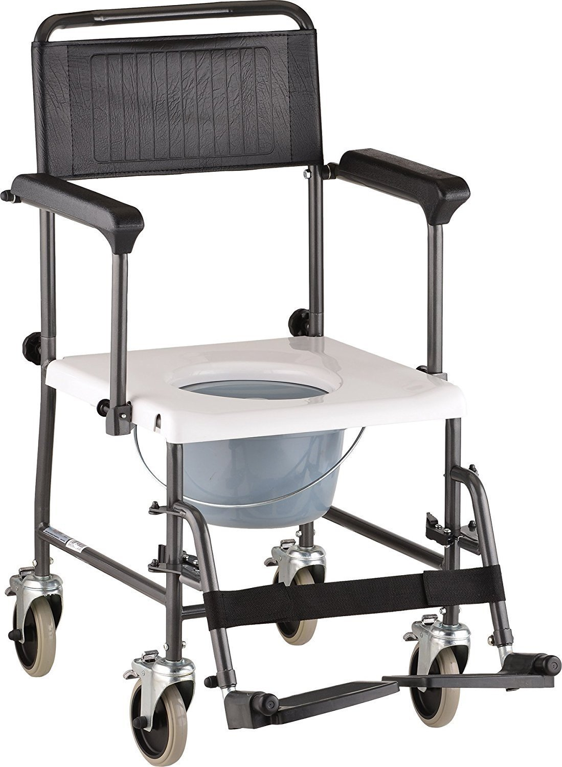 Caremax Bedside Transport Chair Commode by Caremax- Mobility Aid for Adult, Senior, Elderly & Handicap - Aluminum Transport Chair by CareMax