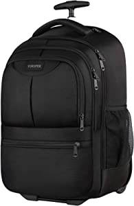 Rolling Backpack, 17 Inch Large Roller Backpack for Women Men,Trolley School Backpack,Carry on Wheeled Laptop Backpack Luggage Suitcase for College Travel Business,Black