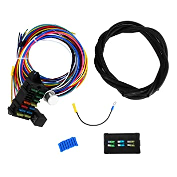 71usoIibFcL._SY355_ amazon com mophorn 12 circuit wiring harness 12 fuses universal best hot rod wiring harness at bayanpartner.co