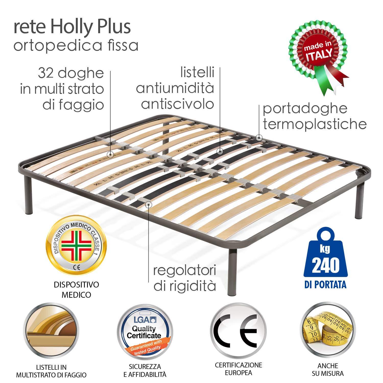Goldflex Rete Holly Plus Fissa Singola 90x190 Robusto Telaio Acciaio Ortopedica Doghe in Legno Rigidit/à Lombare Regolabile qualit/à Dispositivo Medico Detraibile Made in Italy