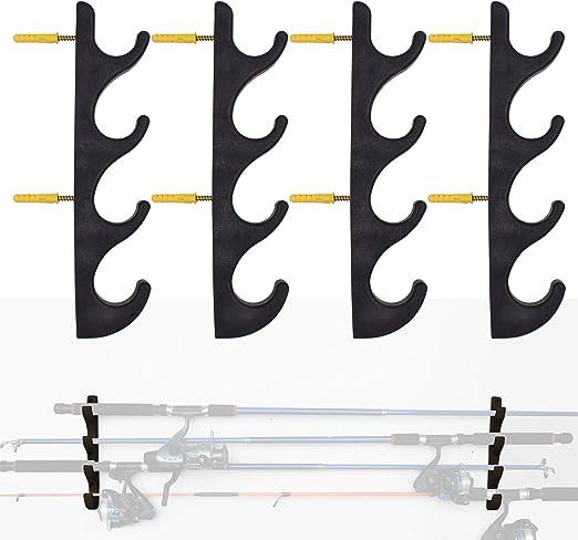 Horizontal Rod Rack Holds 8 Rods for Fishing Rod//Ski Poles//Hockey Sticks//Cue