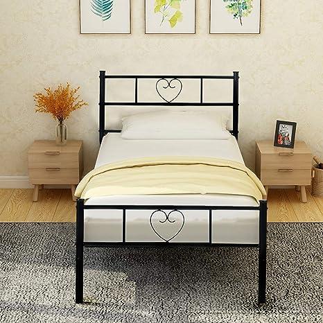 Aingoo Lit Cadre De Lit Simple Solid Avec Un Grand Espace De Rangement Pour Les Enfants Et Les Adultes 90x190 Cm Noir