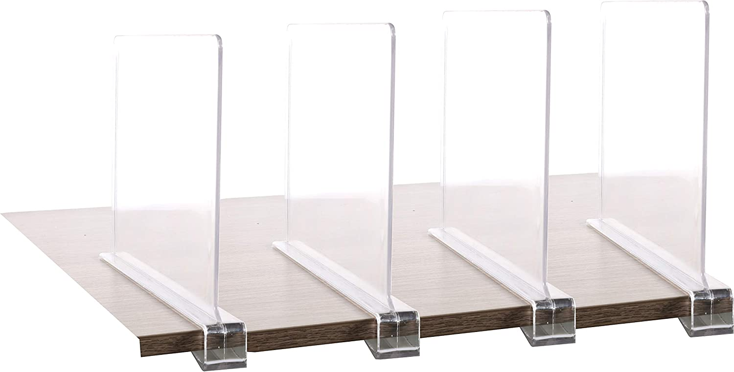 4PCS Multifunction Acrylic Shelf Dividers,Closets Shelf and Closet Separator for Wood Closet,Only Need to Slide to Adjust The Appropriate Distance