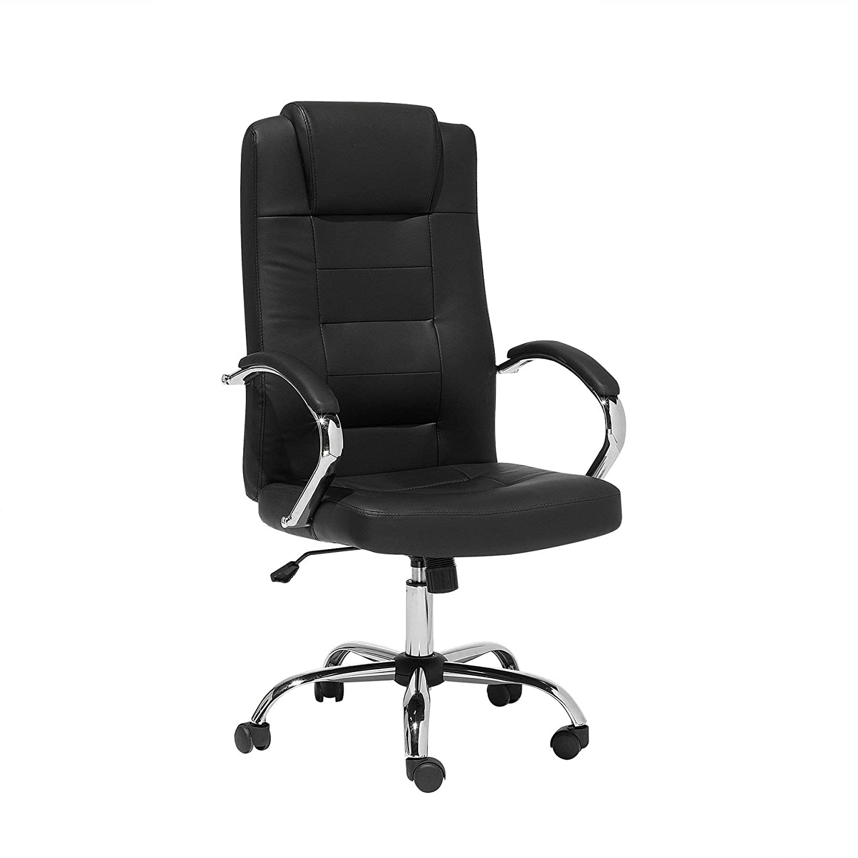 Beliani Bürostuhl schwarz Leder Massagefunktion Diamond II