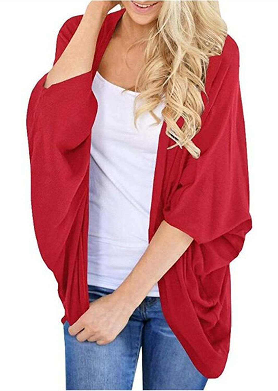 FIRENGOLI Women's Loose Kimono Cardigans 3/4 Sleeves Chiffon Cover Ups AM01UKCG002