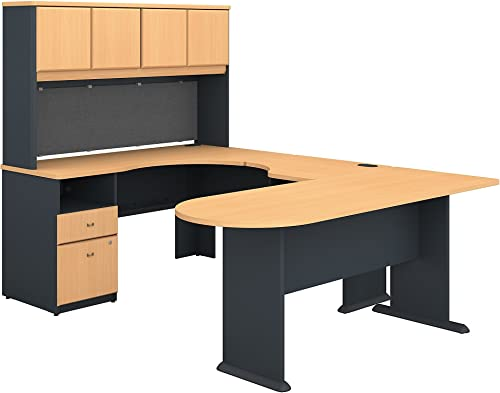 Series A U Shaped Desk with Hutch, Peninsula and Storage in Beech and Slate