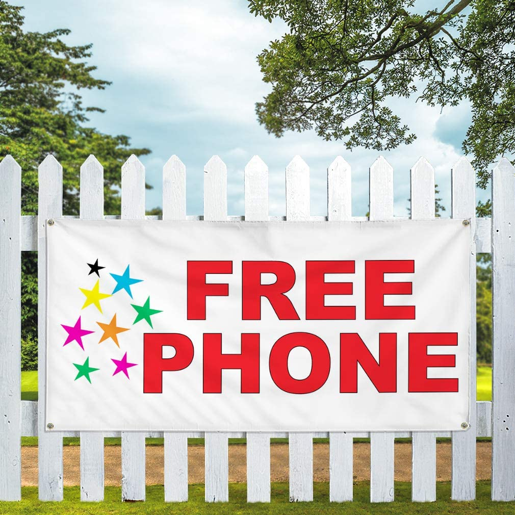 Vinyl Banner Multiple Sizes Free Phone Red Stars A Retail Outdoor Weatherproof Industrial Yard Signs 8 Grommets 48x96Inches
