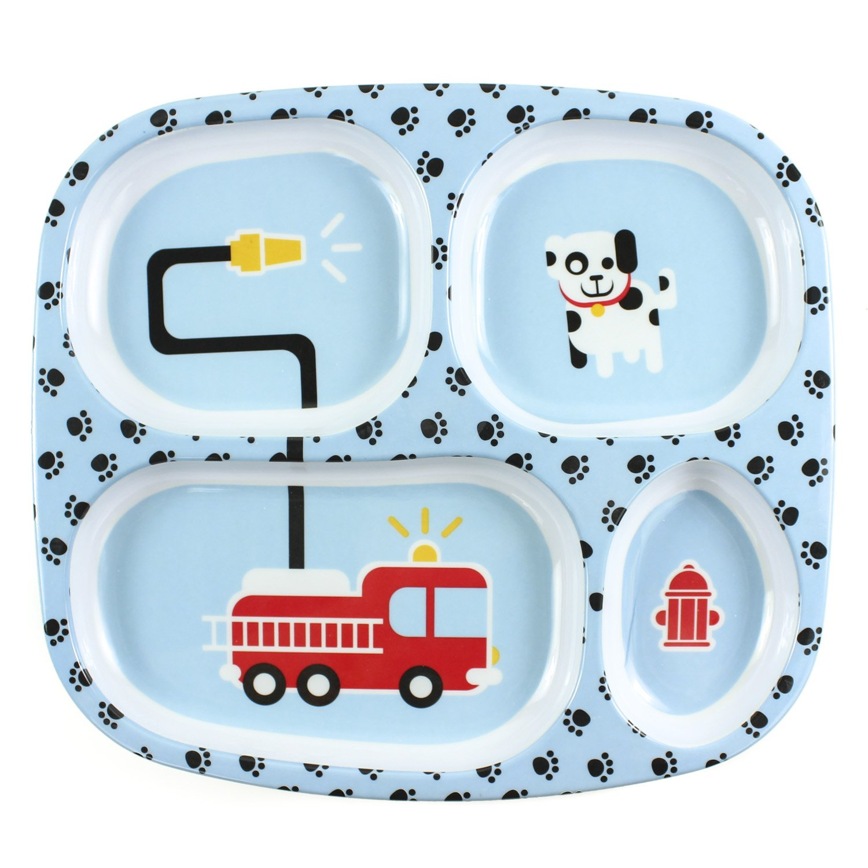 Bumkins Divided Plate, Melamine Tray Plate, Toddler, Kids, BPA Free, Stackable, Dishwasher Safe – Fire Engine
