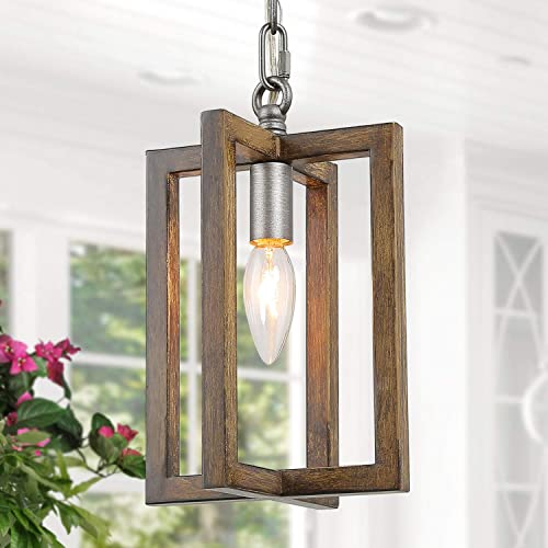 ISURAUL Rustic Farmhouse Pendant Light, Faux Wood Mini Chandelier for Kitchen Island Metal Finish, Vintage Cage Ceiling Small Hanging Lamp for Dining Room, Foyer, Entryway