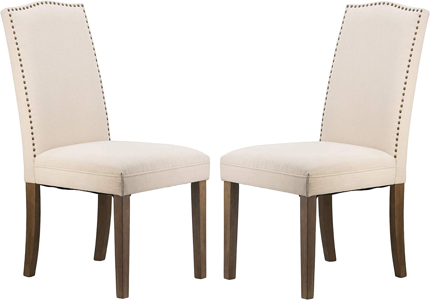 A&B Home Furniture Dining Chairs Urban Style with Nailhead Trim for Dining Room, Kitchen, Living Room, Set of 2(Beige)