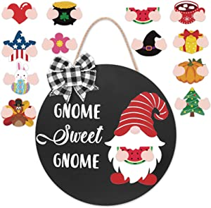 Zingoetrie Gnome Sweet Gnome Welcome Door Sign Black Wooden Door Hanger with Buffalo Plaid Ornaments Seasonal Home Sign Rustic Farmhouse Decor Ideas 12 Inches Black