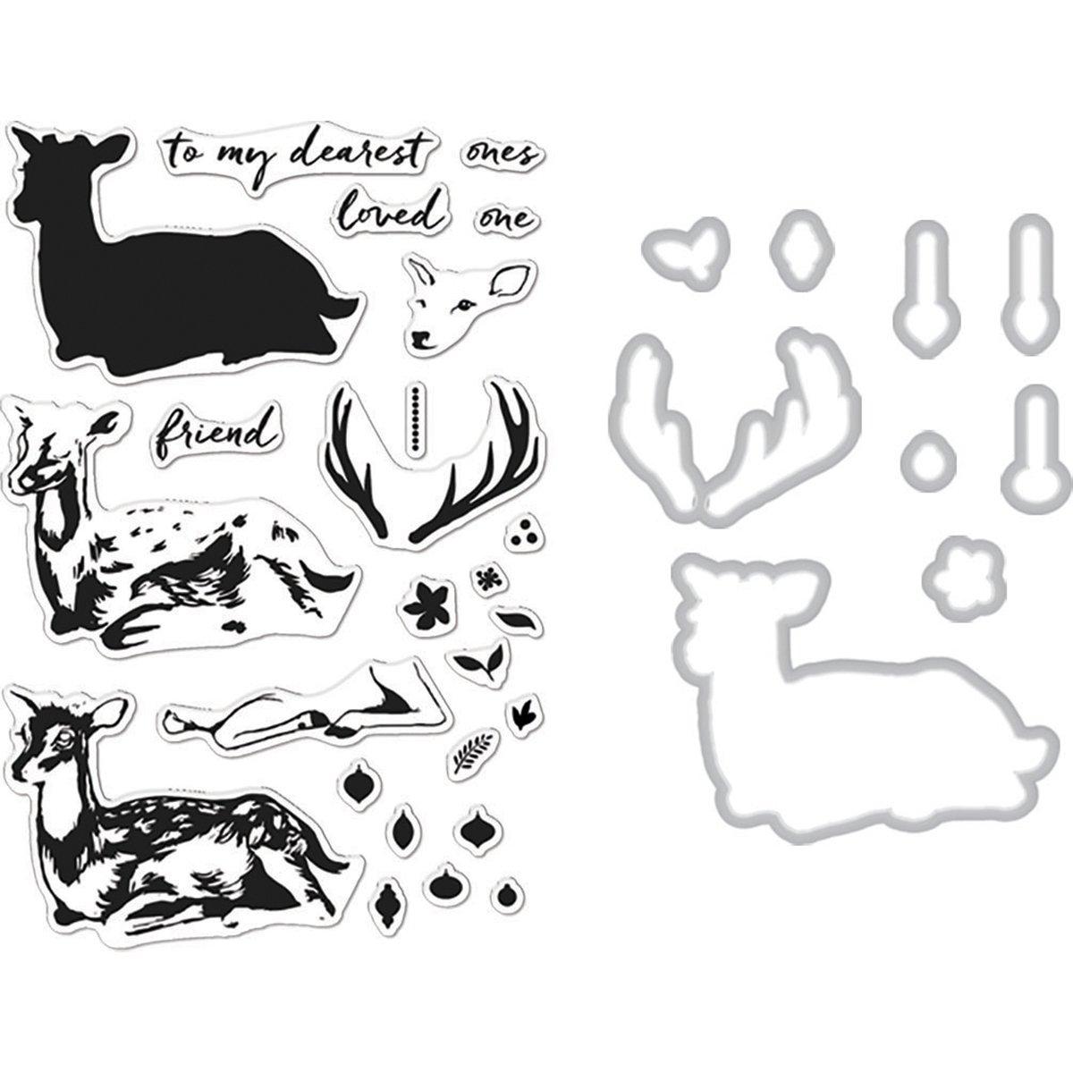 Hero Arts Clear Stamp /& Die Combo-Deer