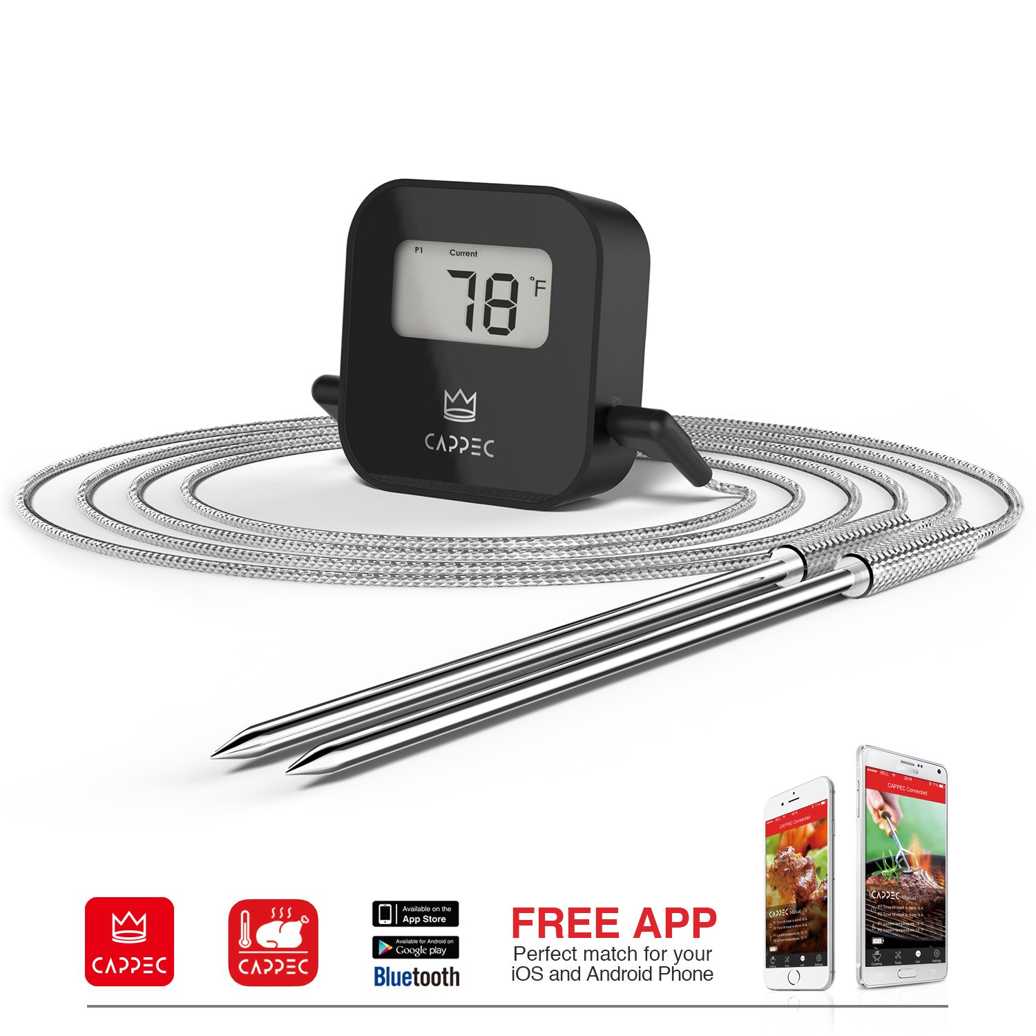 cappec 39 s bluetooth wireless bbq thermometer smoker friendly unique gift for. Black Bedroom Furniture Sets. Home Design Ideas