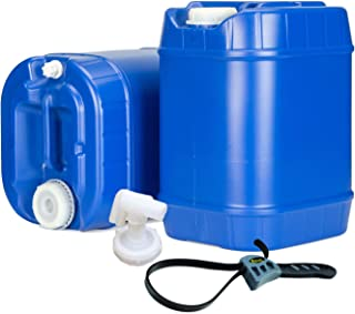 product image for Emergency Water Storage 5 Gallon Water Tanks - 10 Gallons Total (2 Tanks) - 5 Gallons Ea. w/Lids + Spigot - Food Grade, Portable, Stackable, Easy Fill - Survival Supply Water Container
