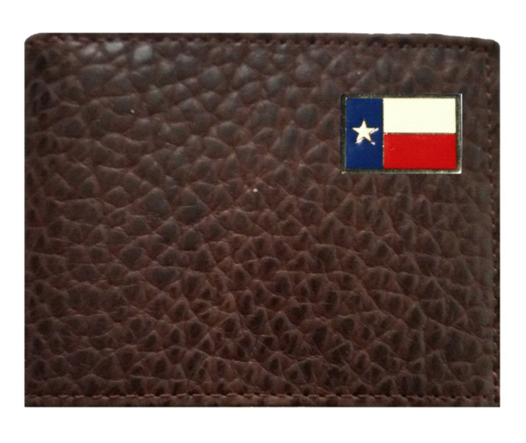 Custom Texas Flag Concho on a Rugged American Buffalo Chocolate Brown Leather Flip ID Bi-fold Wallet. Proudly made in the USA.