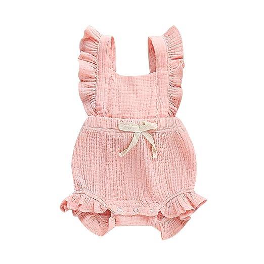 0a3f0d3d09e Pinleck Infant Baby Girl Ruffled Sleeveless Linen Romper Strap Jumpsuit  Bodysuit Clothes Pink