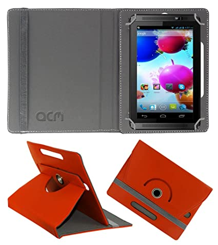 Acm Rotating 360 Leather Flip Case Compatible with Spice Halo Fone Cover Stand Orange Tablet Accessories