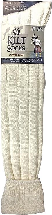 Wool Rich Long Cream Traditional Woven  Knee High Kilt Socks 6-11 uk 39-45 eu