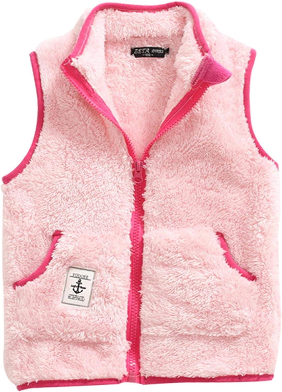 Little Girls Sleeveless Outwear Full Zipper Up Outdoor Casual Waistcoat with Pockets,2-3T,Pink