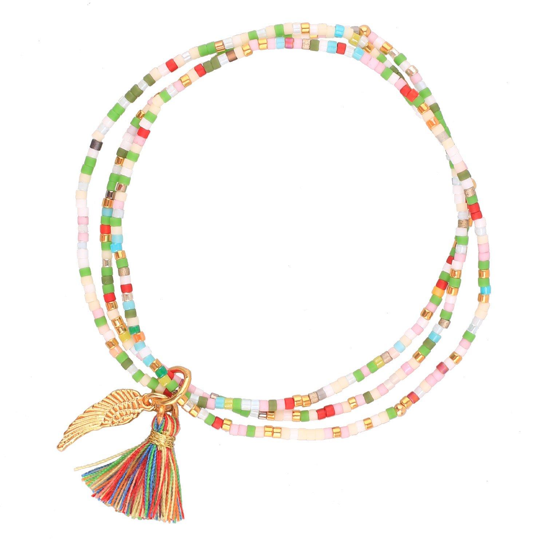 KELITCH Bohemia Friendship Bracelet Handmade Tassels Wing Charm Bracelet & Bangles New Boho (Colorful)