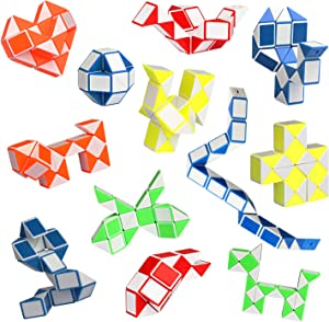 Ganowo Fidget Snake Cube Mini Twist Puzzle(12PACK) -Party Favors, Goody Bag Filler,Carnival Prizes,Classroom Rewards,Birthday Gift- Christmas Kid Stocking Stuffer Brain Teasers Speed Cube
