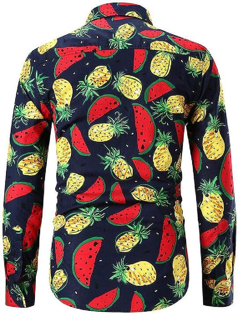MOUTEN Men Button Down Casual Long Sleeve Pineapple Print African Fribal Print Shirt Blouse