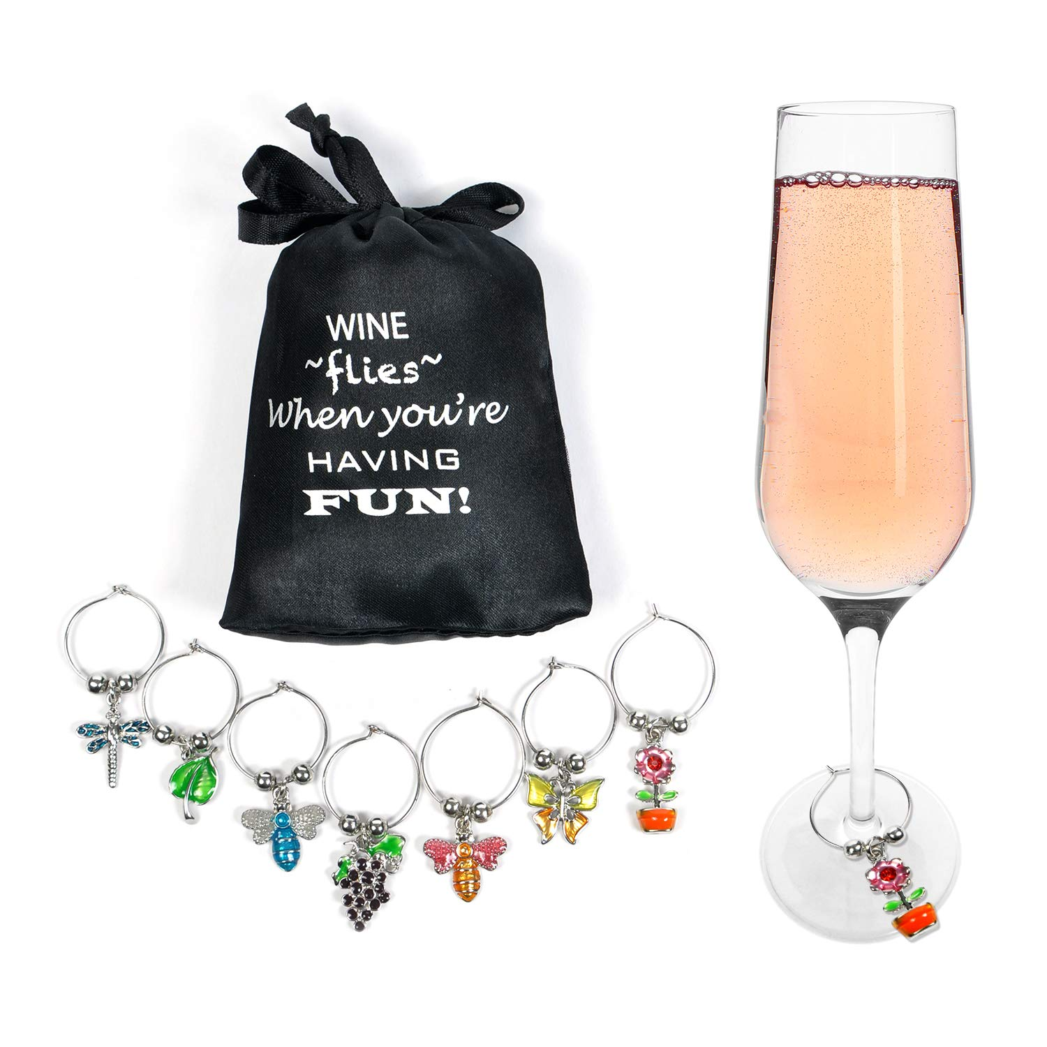 Cork & Leaf Flowers & Insects Wine Glass Markers - Set of 7, Wine Charms, Wine Accessories and Gifts, Drink Markers, Wine Glass Charms, Includes a Black Sateen Storage Bag by Cork & Leaf