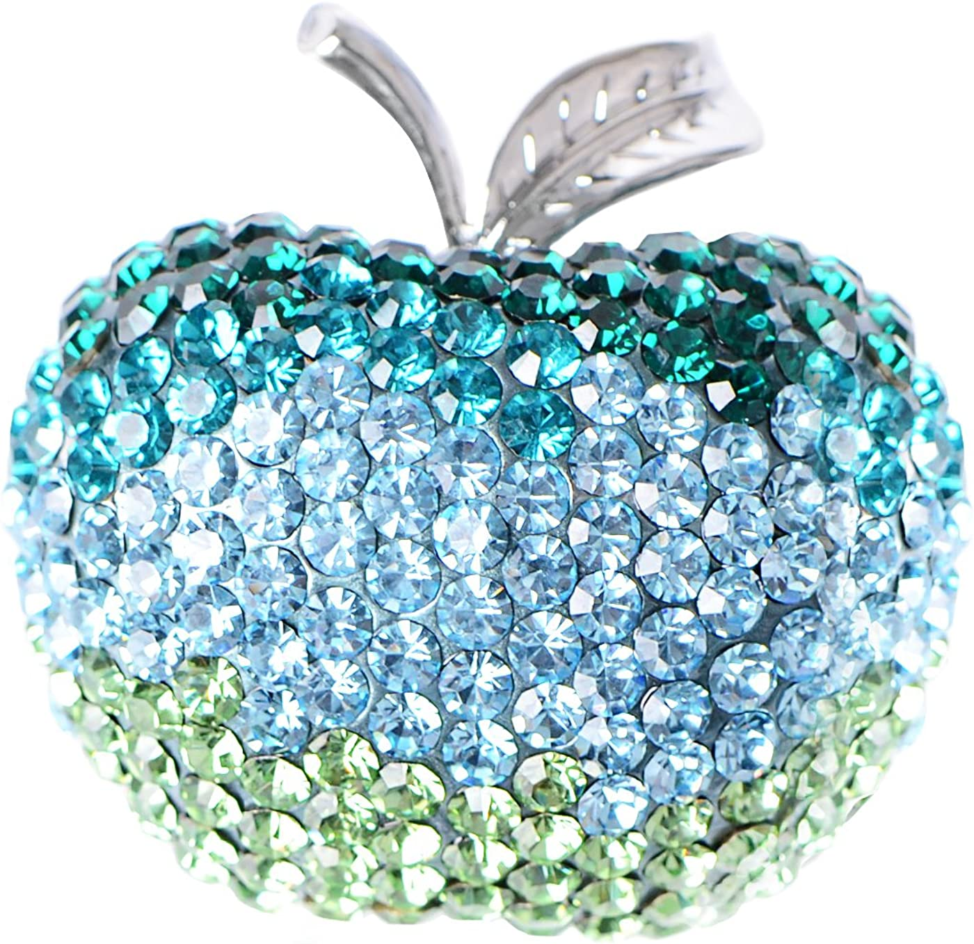 Alilang Womens Silver Tone Shine Blue Green Swarovski Crystals Apple Brooch Pin