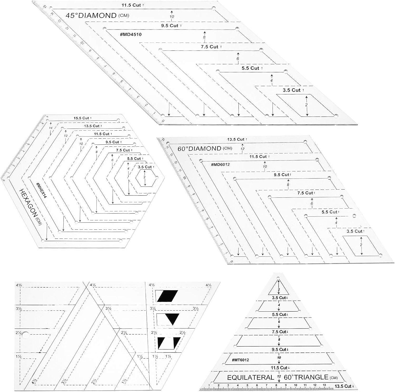 triangolo Righello per patchwork 45 gradi righello di 60 gradi esagono 5 pezzi trapezoidale