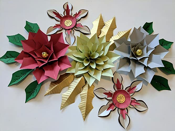 Amazon paper flowers christmas backdrops includes 5 paper paper flowers christmas backdrops includes 5 paper flowers 15 paper leaves fully assembled mightylinksfo