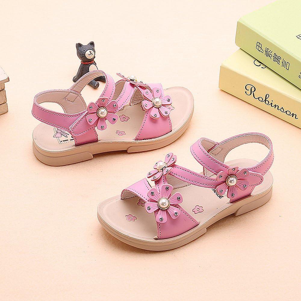 Sandales Enfant Fille Sandale Et/é Bebe Fille Douces et Respirantes Fleur Sandales Fille Mignon Confortable Rose Blanc