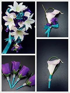 Amazon.com: 17 Pc Wedding Bouquet Bridal Silk Flowers Turquoise ...