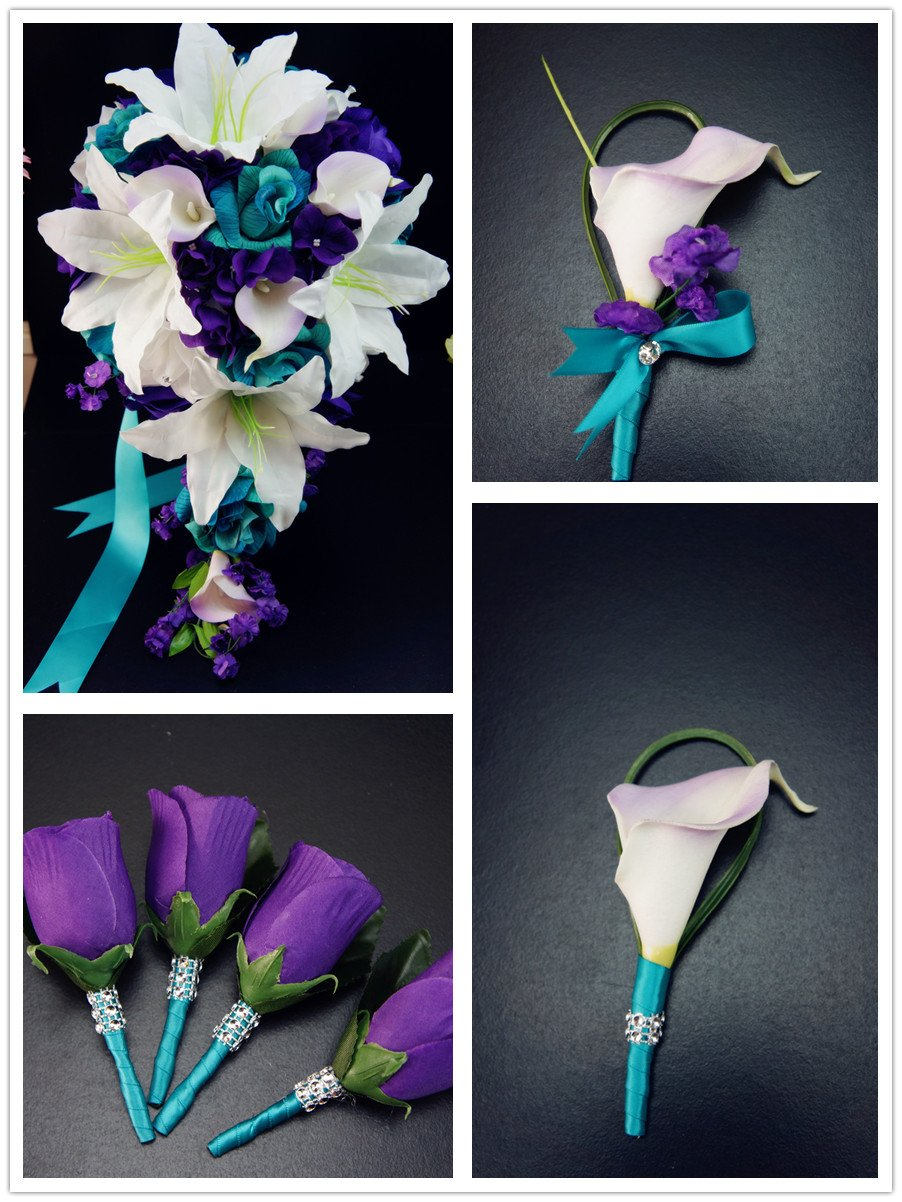 Wedding Flower Package - 13pc Jade (light teal) and Purple Artificial Flowers