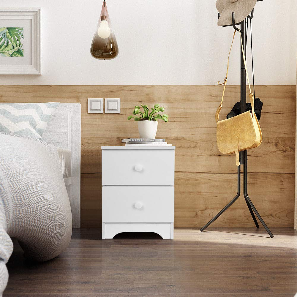 FIged Night Stand Contemporary Simple Design Wood Multi-Purpose Home Furniture Side End Table Storage Cabinet with 2 Drawers, White