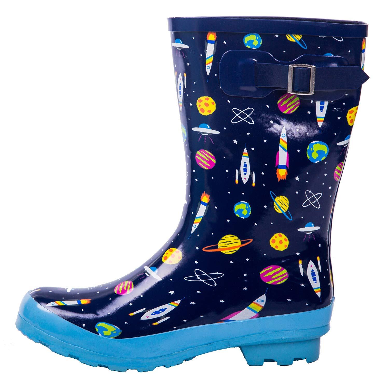 AMAWEI Kids Rain Boots for Boys Girls Baby/Toddler/Little Kids/Big Kids Rubber Garden Shoes (1, Space)