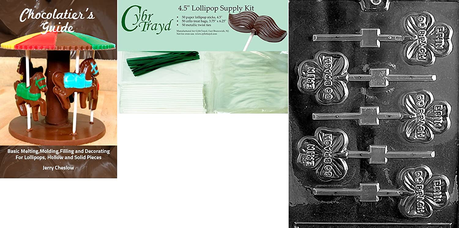 Cybrtrayd P006 Erin Go Bragh Chocolate Candy Mold with Exclusive Cybrtrayd Copyrighted Chocolate Molding Instructions plus Optional Candy Packaging Bundles