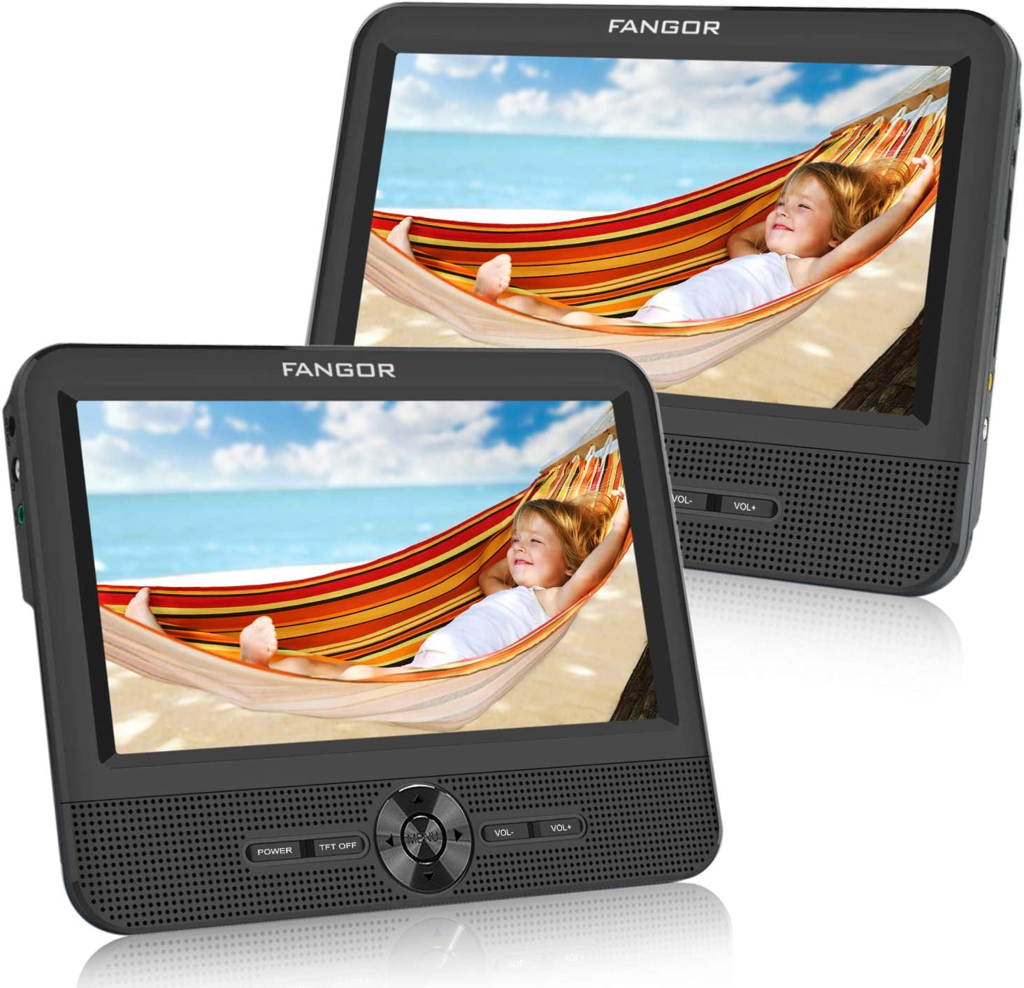 FANGOR 7.5'' Dual Car DVD Player, Headrest Video CD Player with Two Screens, Supported USB/SD/MMC Card Readers, Last Memory and Regions Free