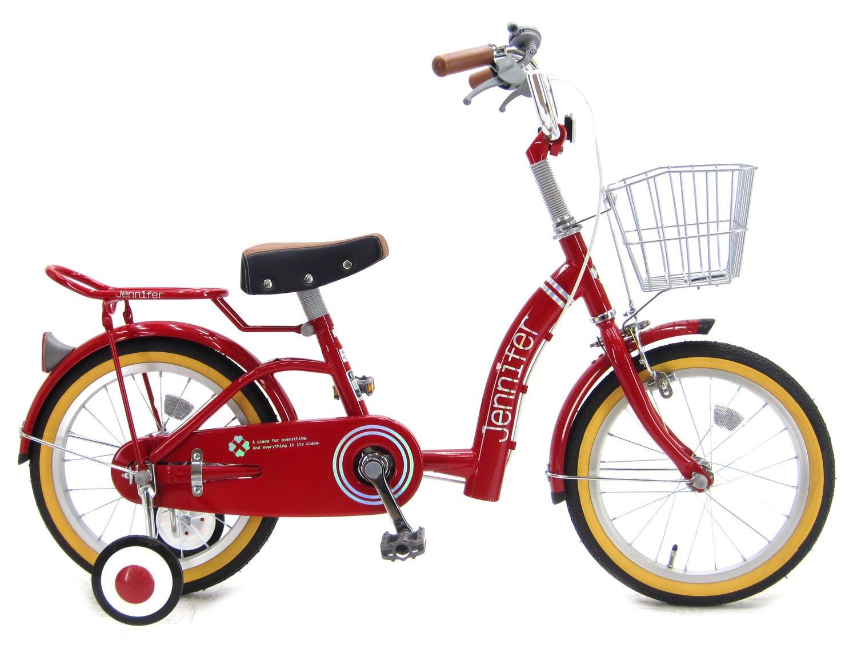 【組立済み】 ジェニファー (JENNIFER) 補助輪付き シングルギア ワイヤーカゴ付き パイプキャリア 幼児用自転車 キッズサイクル B01M9IGE3Gレッド 16インチ