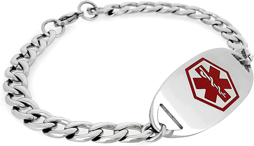 MedicEngraved Mens Womens Surgical 316L Stainless Steel Medical ID Adjustable Cuban Curb Bracelet with Red Enamel Medical Tag