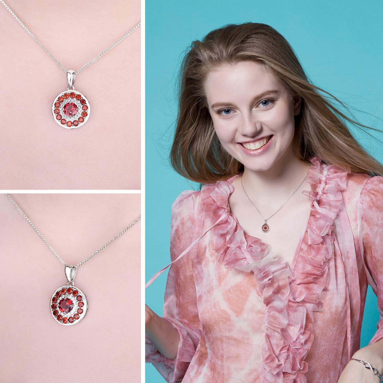 MMC 1.29 ct Red Stone Garnet Silver Pendants Necklaces