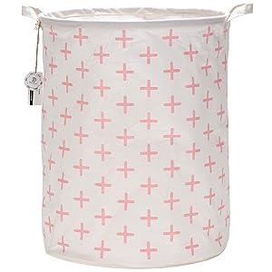 "Sea Team 19.7"" Large Sized Waterproof Coating Ramie Cotton Fabric Folding Laundry Hamper Bucket Cylindric Burlap Canvas Storage Basket with Stylish Pink Cross Design"