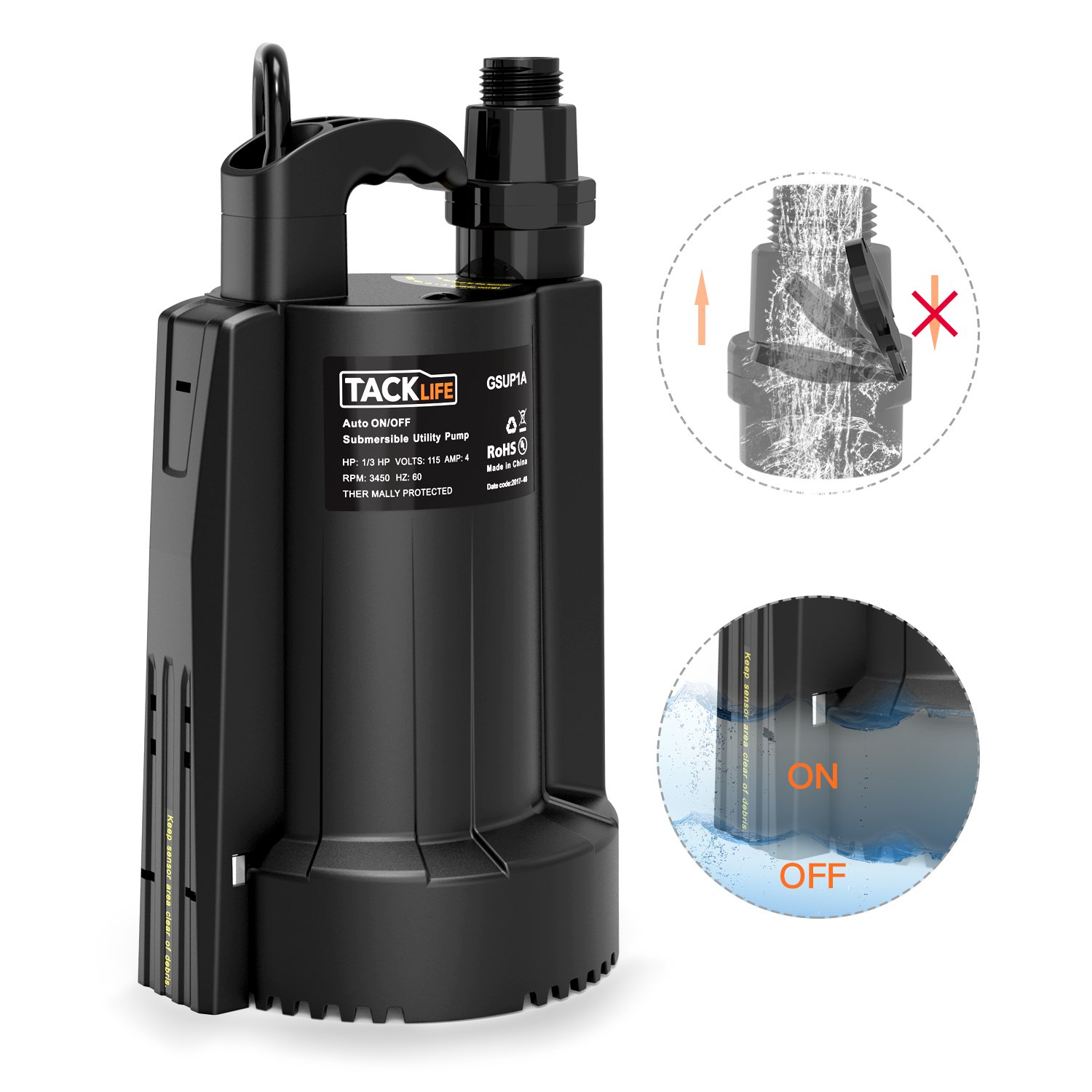 Submersible Water Pump, TACKLIFE 1/3 HP Automatic Switch Electric Water Pump with Low Noise and Check Valve, High-efficiency Pure Copper Motor, 2550 GPH Max Flow Swimming Pool Garden Pond Flood Drain