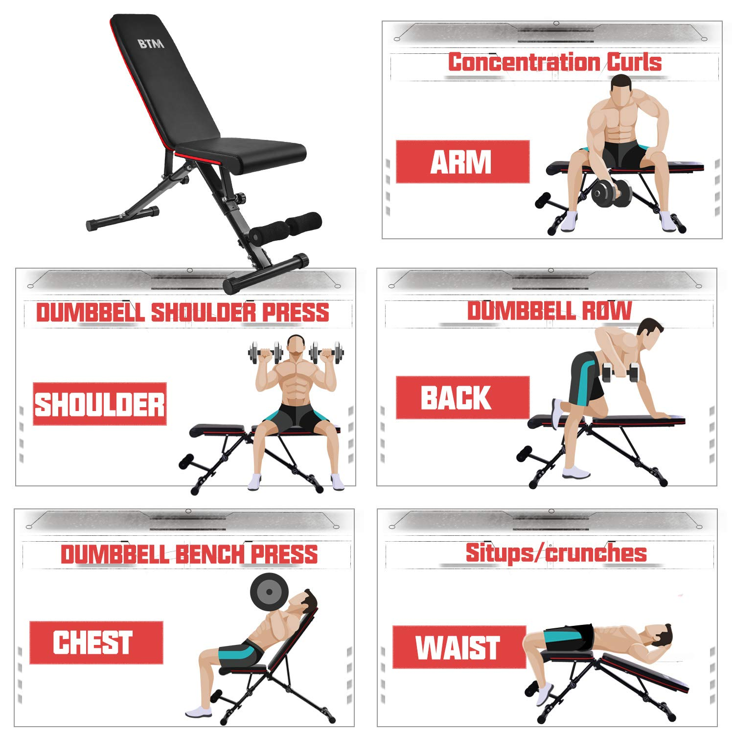 BTM Large Adjustable Folding Weight Bench Folding Full Body Workout Home Gym Weight Lifting Sit Up Fitness Exercise Training NEW