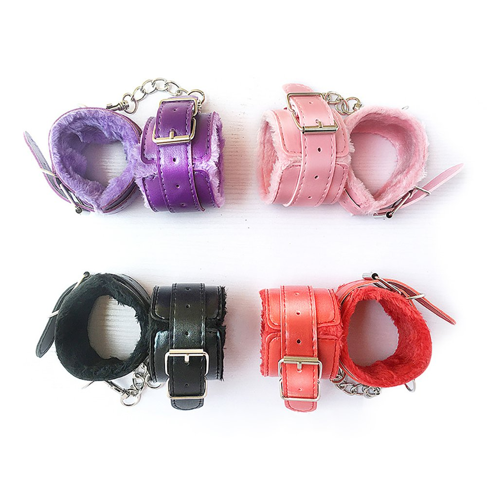 Amazon.com: 1 Pair Sex Handcuffs PU Leather Plush Handcuff Adjustable  Durable Cuffs Soft Restrain Wristband Ankle Bracelet for Lovers Sex:  Clothing