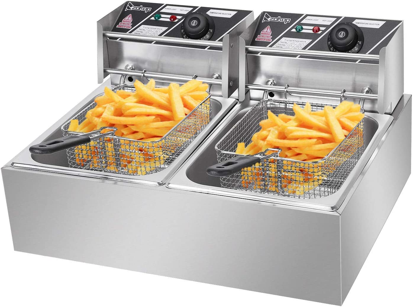 Deep Fryer Dual Tank Electric Countertop 5000W Commercial for both Home and Restaurant 12 Liter Cooking
