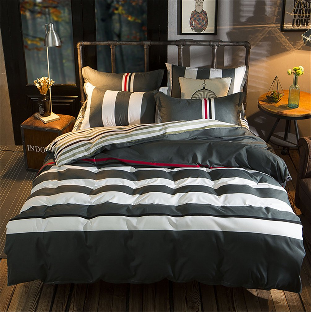 Full/Queen Size Gray & White Striped 3pcs Bedding Sets for Men Women Duvet Cover with Hidden Zipper Ultra Soft Cozy Hypoallergenic Microfiber Pillowcases